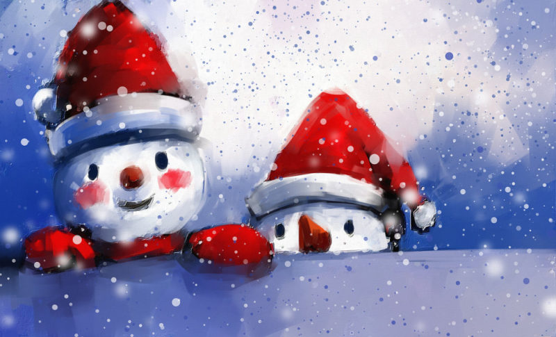 Snowmen with Santa hats
