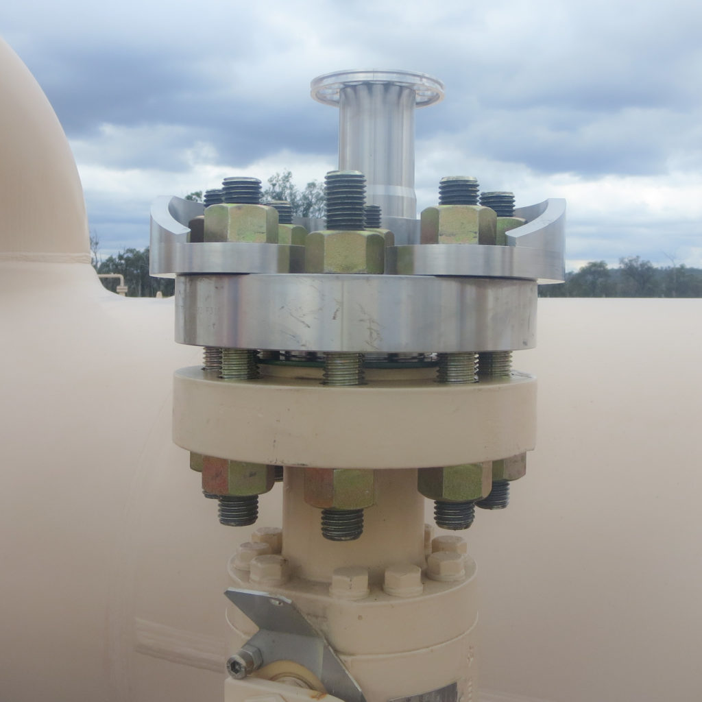 Momentum TMD high frequency tuned mass damper installed valve flange